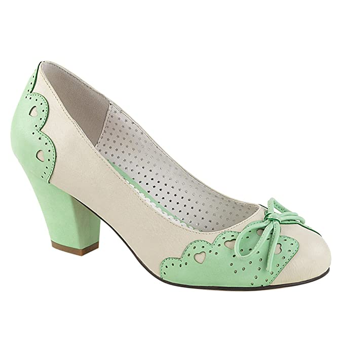 Vintage Style Shoes, Vintage Inspired Shoes Pin Up Couture WIGGLE-17 Womens Heart Cutout Scalloped Bow Cuben Heel Pumps $43.96 AT vintagedancer.com
