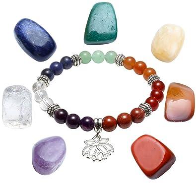 497b50cf72dc6 Jovivi 7 Pierres Chakras Naturelles Bracelet Extensible Perles d Energie  Tibétain Bouddhiste + 7 Pièrres