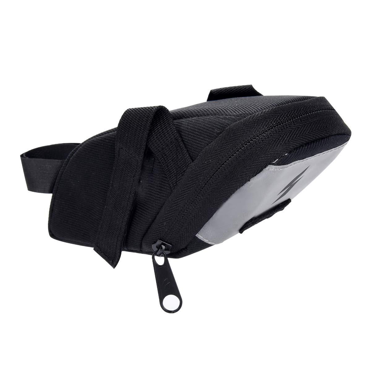 Cycling Bike Saddle Bag, Bicycle Strap-On Saddle Bag Seat Bag Wedge Pack, with Light, Black, 18 * 8.5 * 6cm
