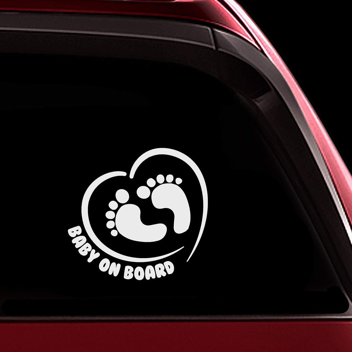 wei/ß Vinyl Stukk Stickers Baby On Board Aufkleber f/ür Autofenster 12,7 cm x 17,8 cm