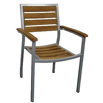 Sedie In Alluminio E Legno.Bolero Y820 Bistro Sedia Legno Alluminio Confezione Da 4 Amazon