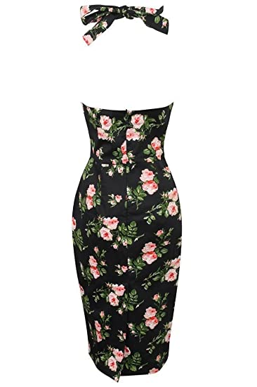 e945bf0bb3d4b Looking Glam New Ladies Retro Vintage 1940's Halter Neck Body Con Wiggle  Dress Floral Rose