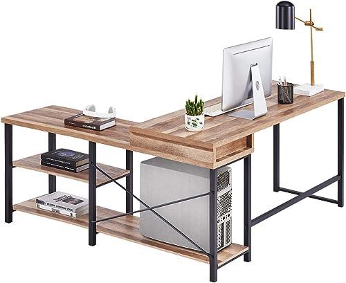 Best home office desk: BON AUGURE L Shaped Computer Desk