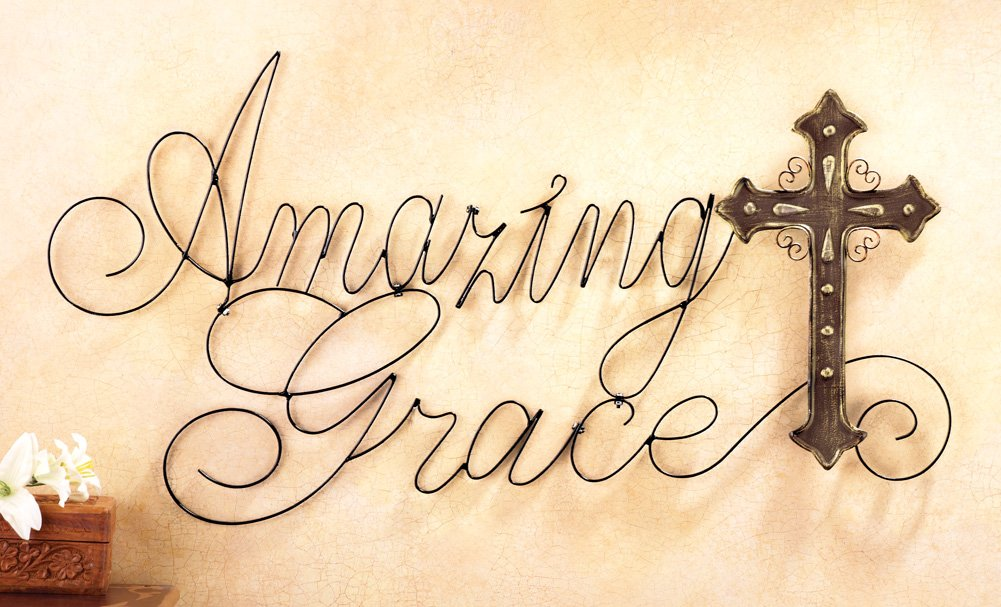 Amazon.com: Amazing Grace Metal Cross Wall Art, Brown: Home & Kitchen