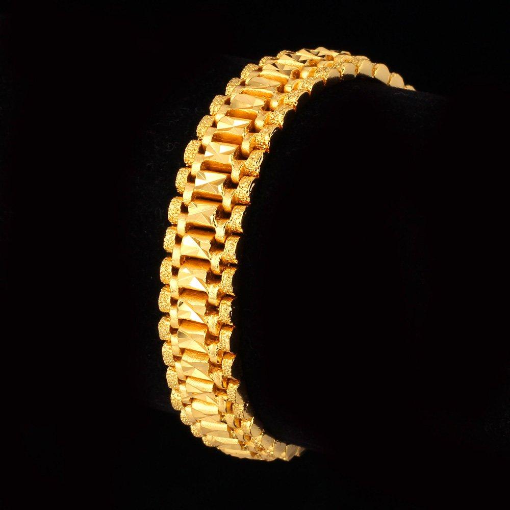 U7 Men Wrist Chain Bracelet 18K Gold Plated 12mm Wide Link Bracelets 21CM by U7 (Image #6)