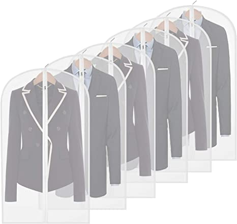 Amazon Com Homeminda Garment Bags For Suits 40in Clear Moth Proof Hanging Lightweight Breathable Dust Covers With Study Full Zipper For Storage Clothes Closet Pack Of 6 Home Kitchen
