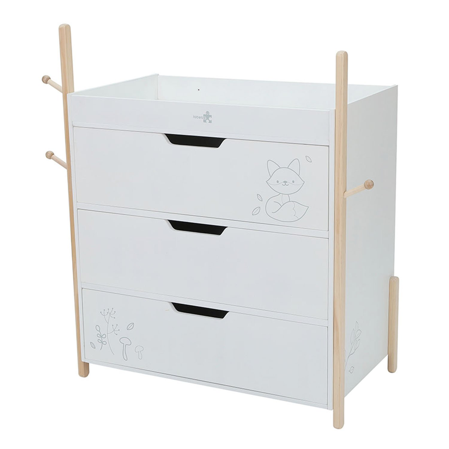 Labebe Baby Wooden Changing Table with 3 Baskets