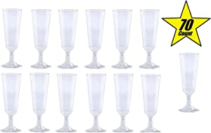 70pc Glitter Plastic Classicware Glass Like Champagne Wedding Parties Toasting Flutes Party Cocktail Cups (Clear)