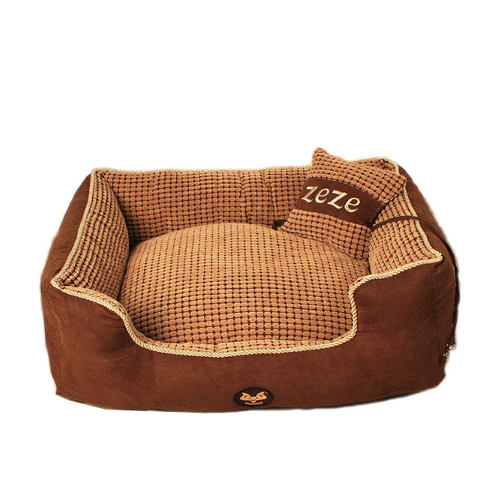 BROWN 90x70cm BROWN 90x70cm YangMi pet bed- Kennel Removable And Washable Teddy Winter Season golden Retriever Pet Mattress Bomei Wo Dog Cat Nest (color   BROWN, Size   90x70cm)