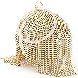 Womans Round Ball Clutch Handbag Dazzling Full Rhinestone Tassles Ring Handle Purse Evening Bag (C)