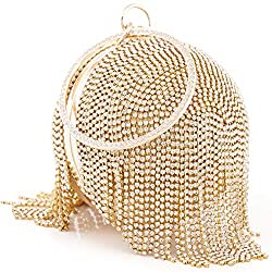 Gold-C Round Ball Clutch With Rhinestone Tassles & Ring Handle