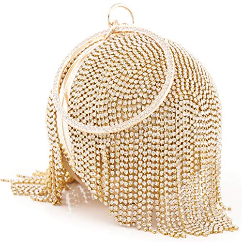 Beaded Flower Tote - Womans Round Ball Clutch Handbag Dazzling Full Rhinestone Tassles Ring Handle Purse Evening Bag (C)