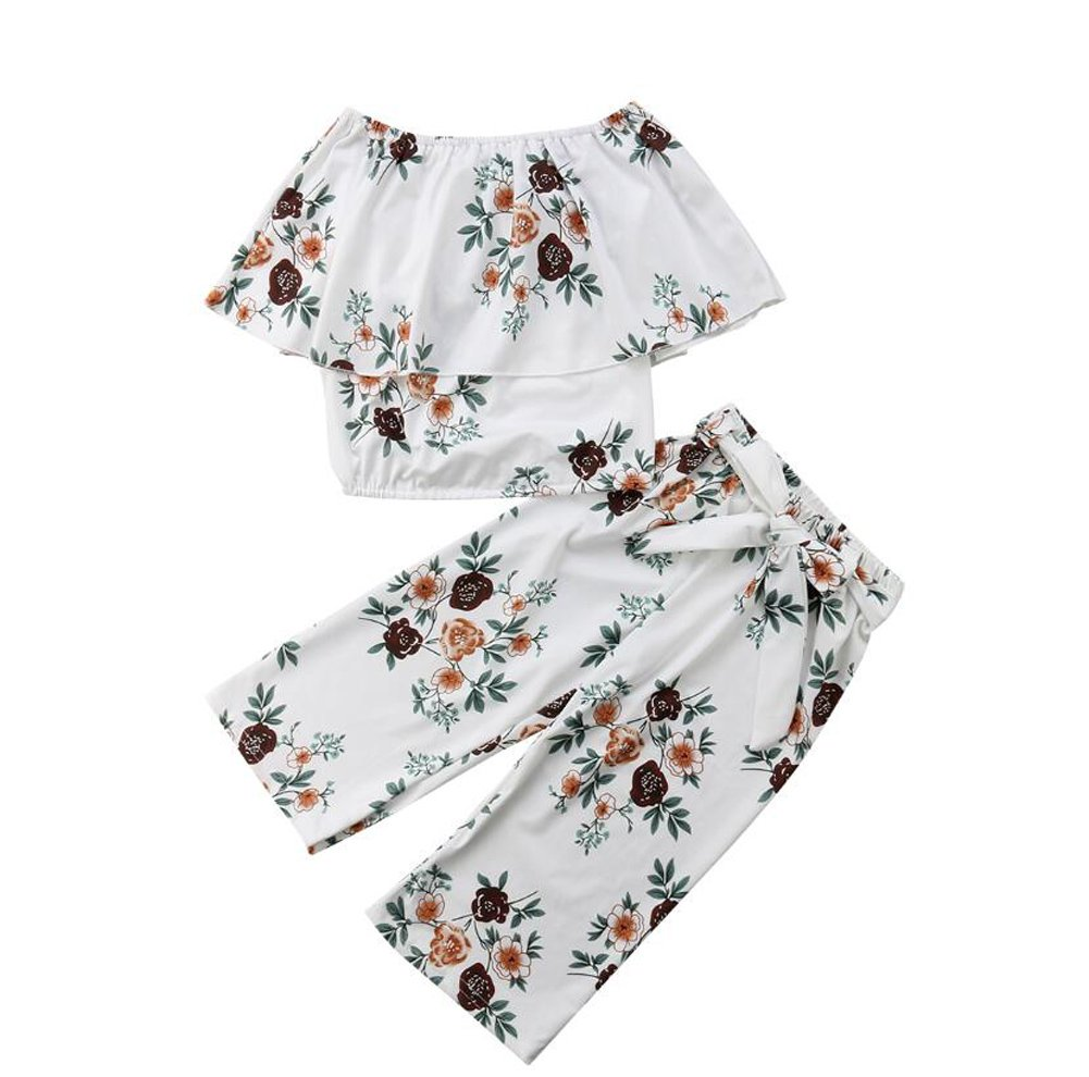 Little Kids Girls Summer Dress Clothing Outfit Fashionable Leaf 2PC Skirt Sets (White, 4T)