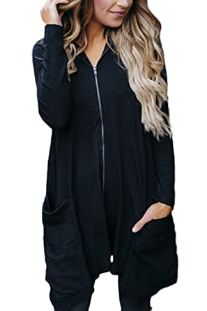 b5df82867b5 Jumojufol Women s Long Sleeve Zip Up Hoodie Irrgular Longline Cardigan  Sweaters with Pockets  Amazon.co.uk  Clothing