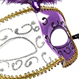 Masquerade Masks – 6-Pack Venetian Ball Party Face Masks for Carnival, Carnaval, Mardi Gras, Fancy Dress Halloween, Cosplay Events, Purple and White - 11.5 x 7 x 3.5 inches