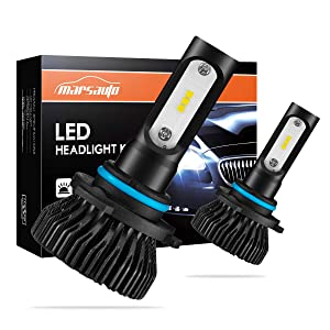 Marsauto 9005 LED Headlights, HB3 LED Headlight High Beam Fog Light Bulbs 6000K 8000LMs Cool White Halogen Replacement 2 Pack
