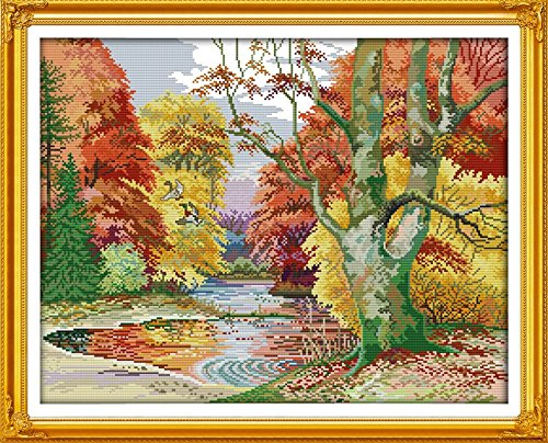 Good Value Cross Stitch Kits Beginners Kids Advanced-Forest Collection 11 CT 27X 22, DIY Handmade Needlework Set Cross-Stitching Accurate Stamped Pa…