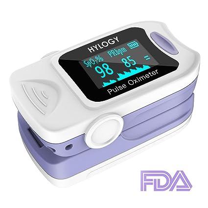 hylogy oxímetro Digital de Pantalla OLED Medir Oxígeno en Sangre SPO2 y frecuencia de pulso,