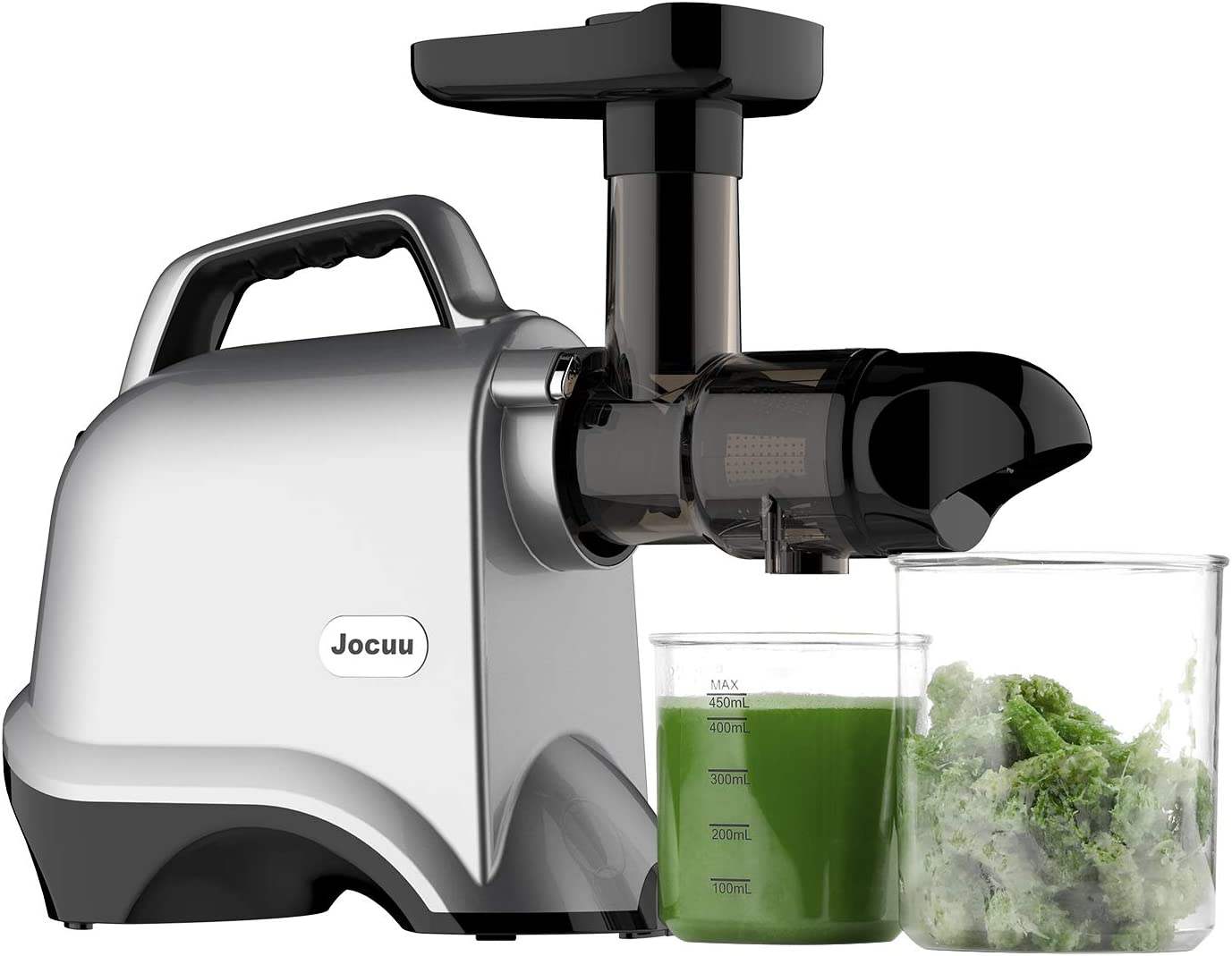 Juicer Machines, Jocuu Slow Masticating Juicer Extractor Easy to Clean, Quiet Motor and Reverse Function, BPA-Free, Cold Press Juicer with Brush and Juice Recipes, for Vegetables and Fruits