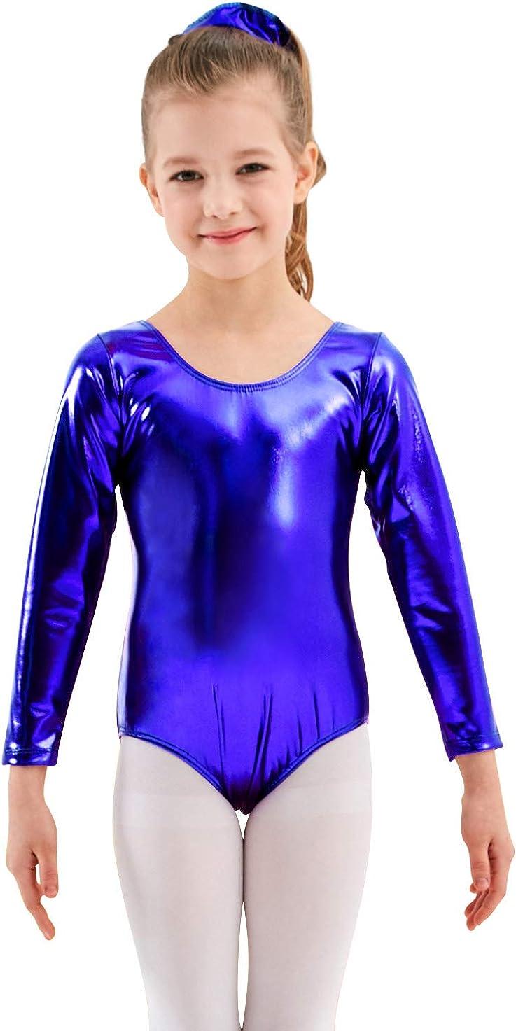Mvefward Girls Long Sleeve Shiny Metallic Spandex Gymnastics Leotard Dancewear Bodysuit for Kids