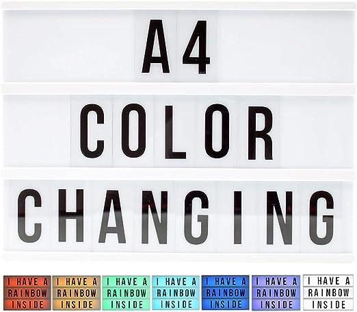 LED Lámpara decorativa caja de luz que cambian intercambiable letras Números caracteres 90 St. A 4: Amazon.es: Iluminación