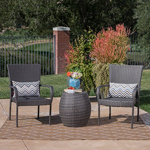 GDF Studio 301115 Orlando Outdoor 3 Piece Wicker Chat Set (Grey) (Orlando Furniture Outdoor Cheap)