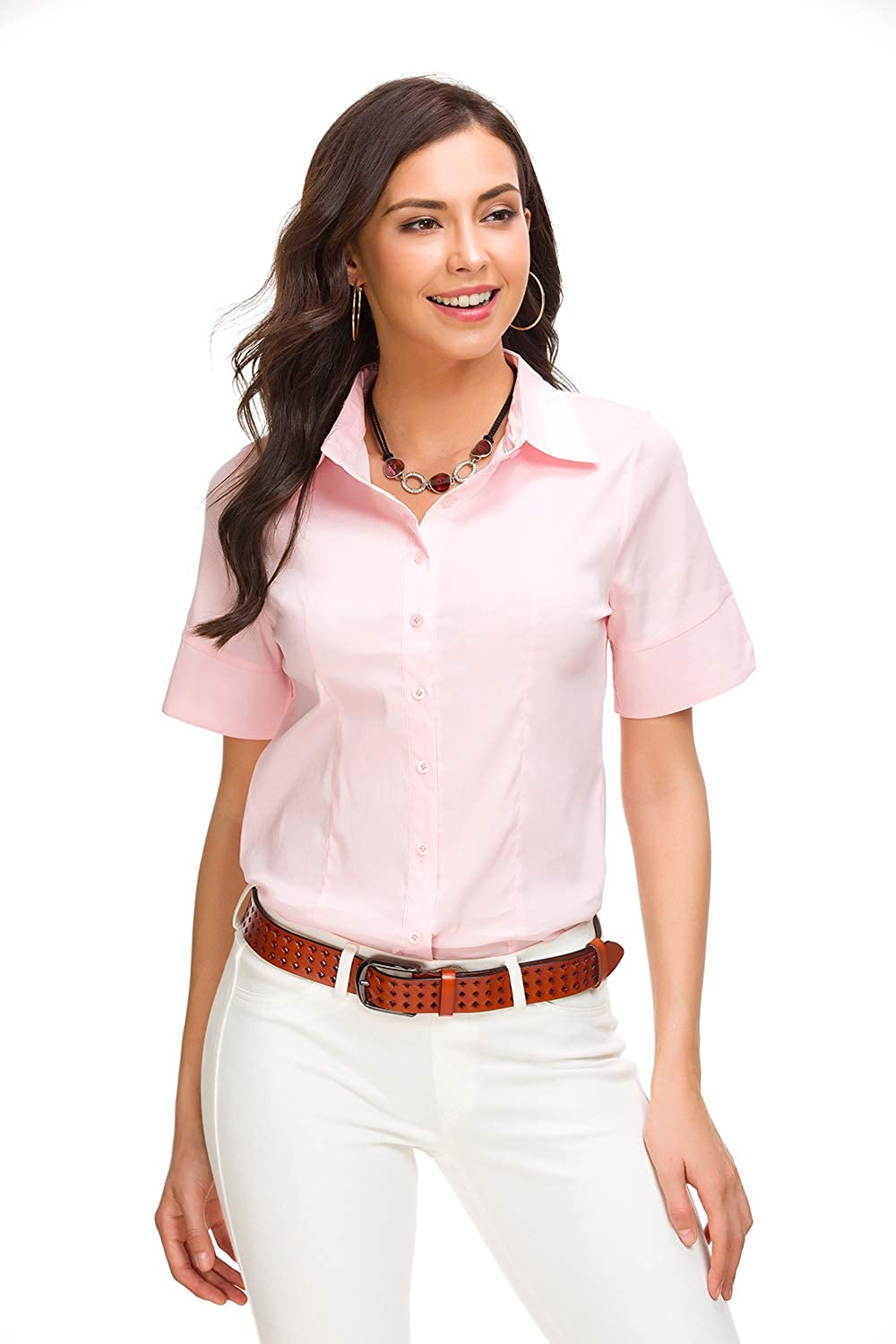 Women Casual Short Sleeves Button Down Lapel Top Ladies Office Work Shirt Blouse