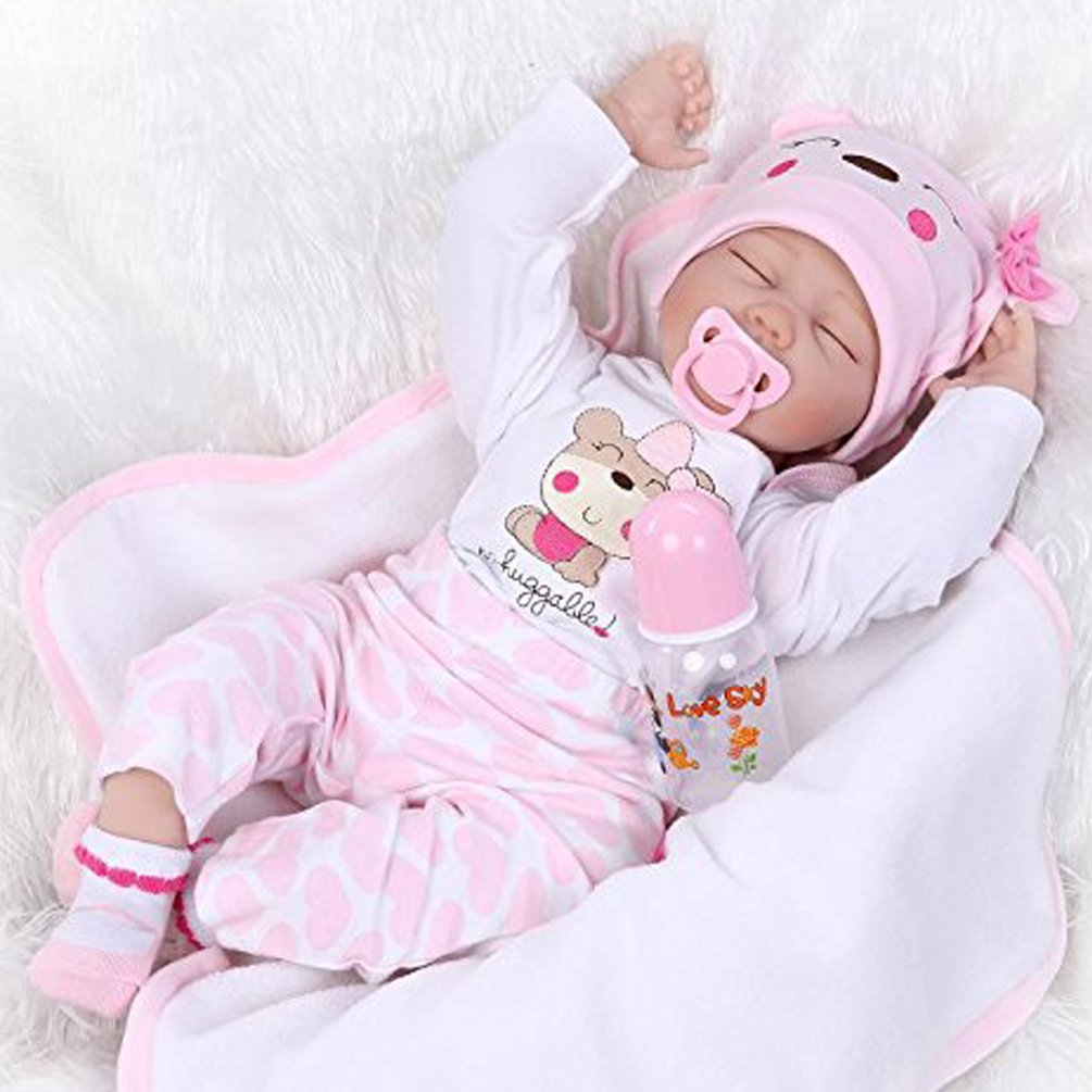 NPK Reborn Baby Doll Soft Silicone Vinyl 22 inch Lovely Lifelike Cute Baby Boy Girl Toy Beautiful clothes doll 55 cm Hots