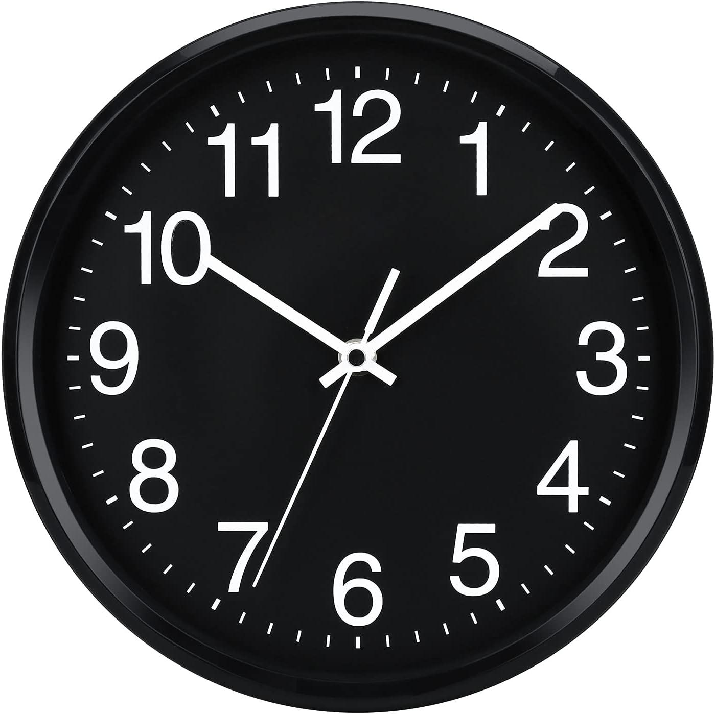 """Plumeet 10"""". Reloj de Cuarzo de Pared silencioso, Decorativo para el hogar/la Cocina/la Oficina/la Escuela, fácil Leer y con Pilas (Negro)"""