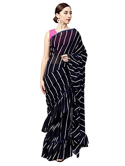 63508508bc Inddus Navy Blue Georgette Ruffle Saree: Amazon.in: Clothing ...