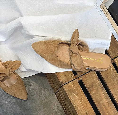 Outdoor excellent Half Shoes c Pointed Slippers Sandals Khaki Toe Flat Shoes Women's Bow rqw18gqxBA