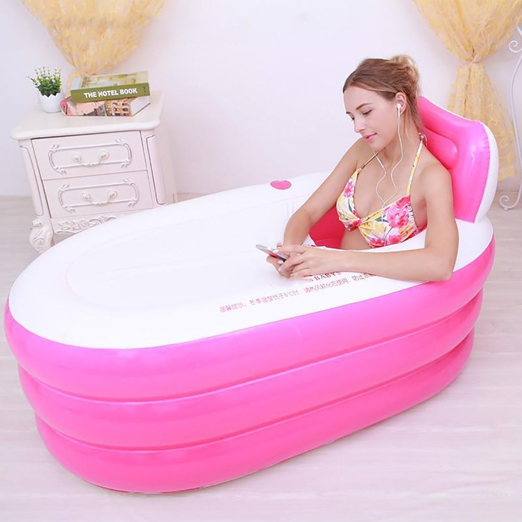 PM YuGang Foldable Inflatable Thick Warm Adults Bathtub, Children Inflatable Pool, Pink