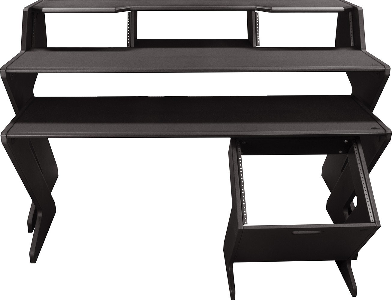 Ultimate Support Nucleus-Z Navigator - Fully Expanded Studio Desk with Keyboard Shelf and Floor Based 8 Space Rack