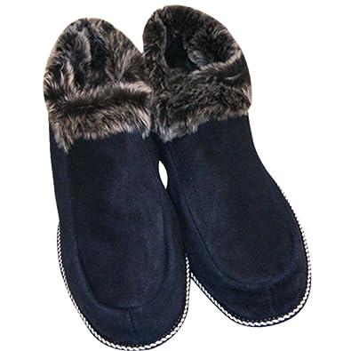 Schuhe Aus Lammfell Hausschuhe Aus Echtem Leder Hausschuhe Schuhe Houseshoes Shoes Hüttenschuhe Pantoffeln Sehr Warm Gr.36-48 (43, Marine)