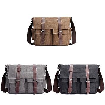 GUAngqi Men s Vintage Canvas Shoulder Bag Leather Satchel School Military  Messenger Bag,brown d5e250e590