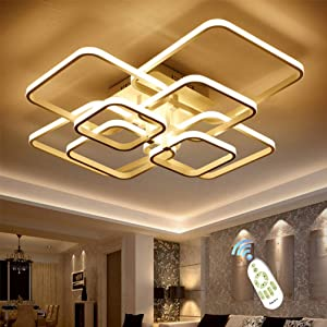 LED Ceiling Light Fixture with Remote Control,Chandelier Modern Acrylic Lighting Flush Mount Lamp 8 Heads for Dining Room Bedroom Square Kitchen Light Fixtures,Dimmable Light Color Changeable (White)