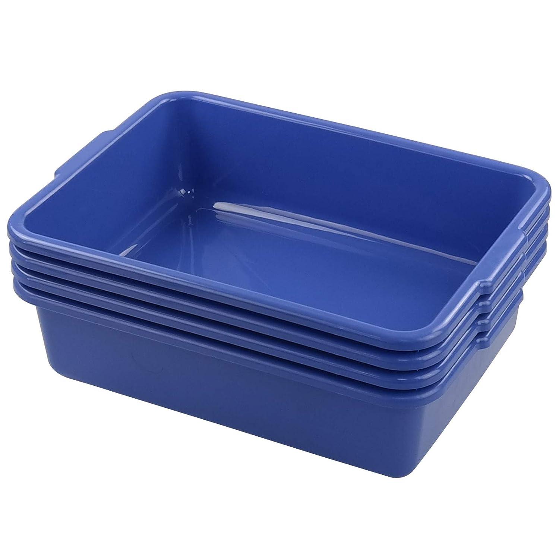 Easymanie 13 Liter Commercial Bus Box, 4 Packs Plastic Tubs