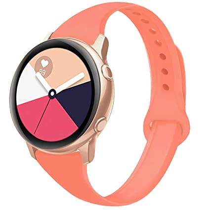 Yutior Sport Bands Compatible with Samsung Galaxy Watch Active 40mm & Galaxy Watch Active 2, 20mm Silicone Band Narrow Wristband for Samsung Galaxy ...