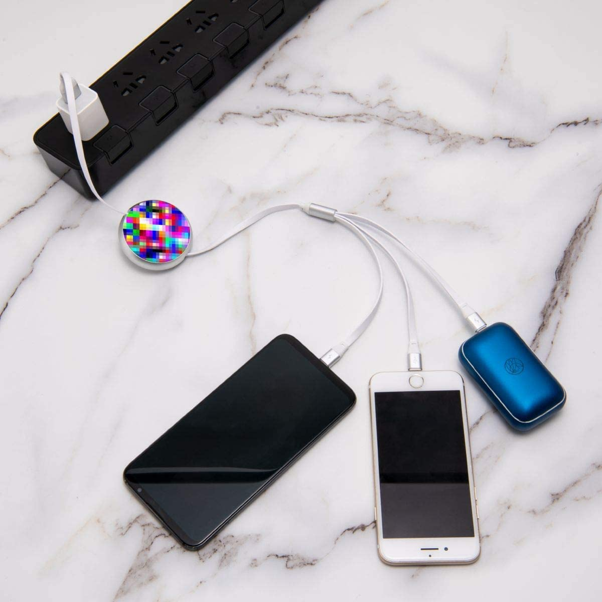 Fantasy Visual Colorfuk Mosaic 3 in 1 Retractable Multiple Charging Cable 3.0a Fast Charger Cord with Phone//Type C//Micro USB Charge Port Adapter Compatible with Cell Phones Tablets and More