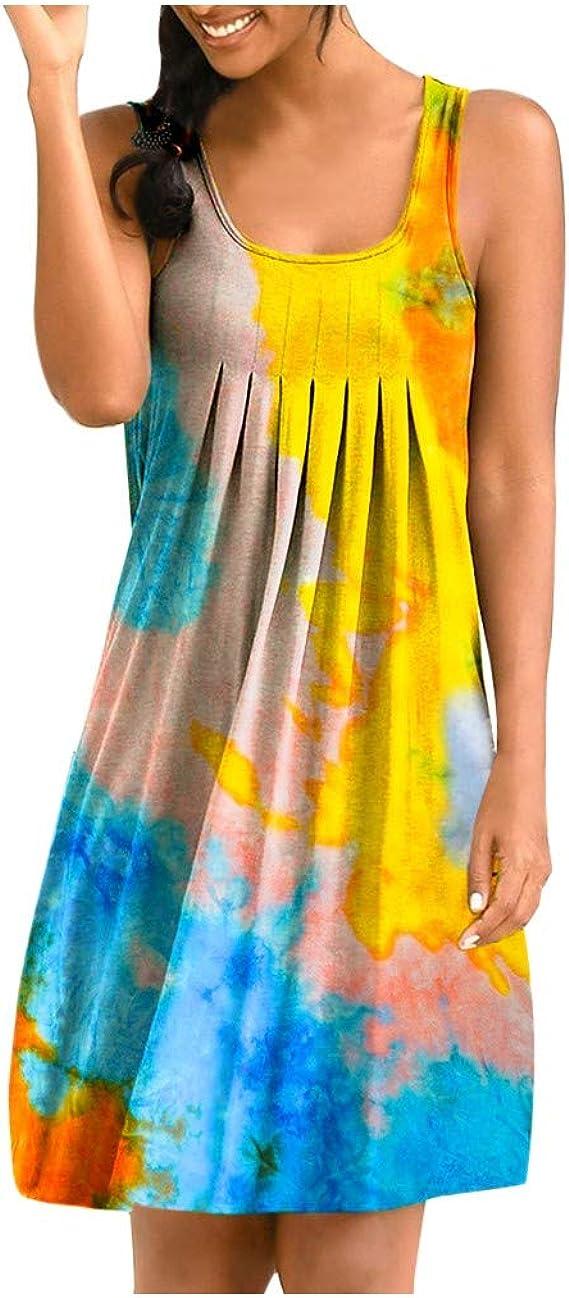 riou Vestido Mujer Bohemio Verano Tie-Dye Irregular Hem ...