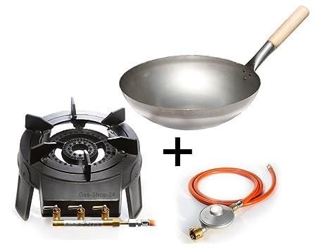 Fornello a gas bruciatore wok set 9 2 kw con tubo per gas