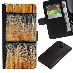 UberTech / HTC One M8 / Wood Texture Pattern Wall Black / Cuero PU Delgado caso Billetera cubierta Shell Armor Funda Case Cover Wallet Credit Card