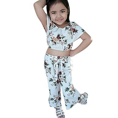 8382b5f1b Xshuai® 2Pcs Fashion Toddler Kids Baby Girls Sport Outfits Floral Tops+Pants  Clothes Set: Amazon.co.uk: Clothing
