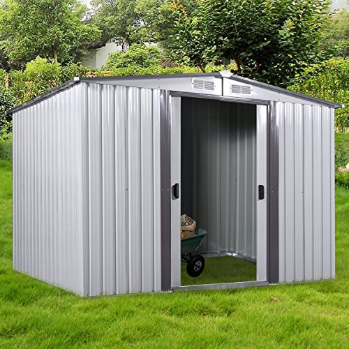 LAZYMOON New 8' x 8' Outdoor Grey Steel Garden Storage Utility Tool Shed Backyard Lawn Building Garage w/Sliding Door