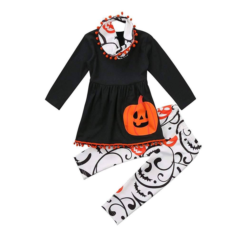 TOBABYFAT Toddler Halloween Costume Girl Boy Baby Kid Outfit Top Dress+Pant+Headband