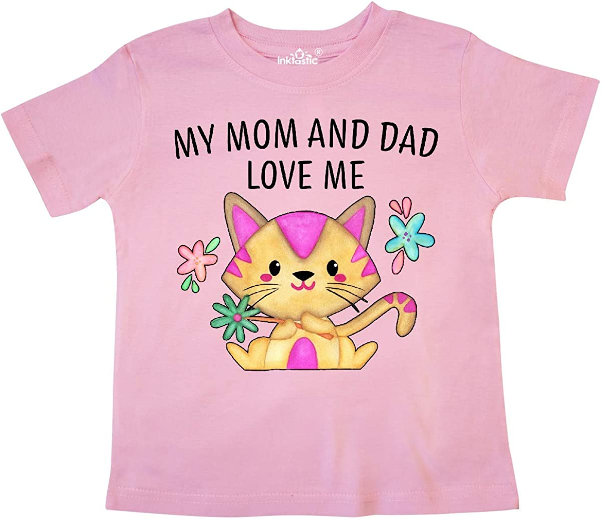 inktastic My Mom and Dad Love Me with Cute Kitten and Flowers Toddler T-Shirt
