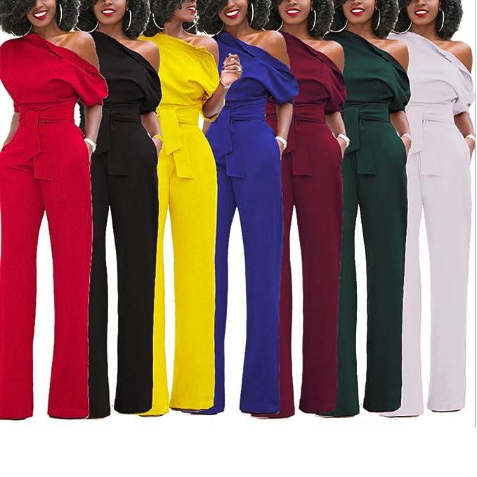 Amazon.com: Pantalón de mujer con cinturón de cintura alta ...