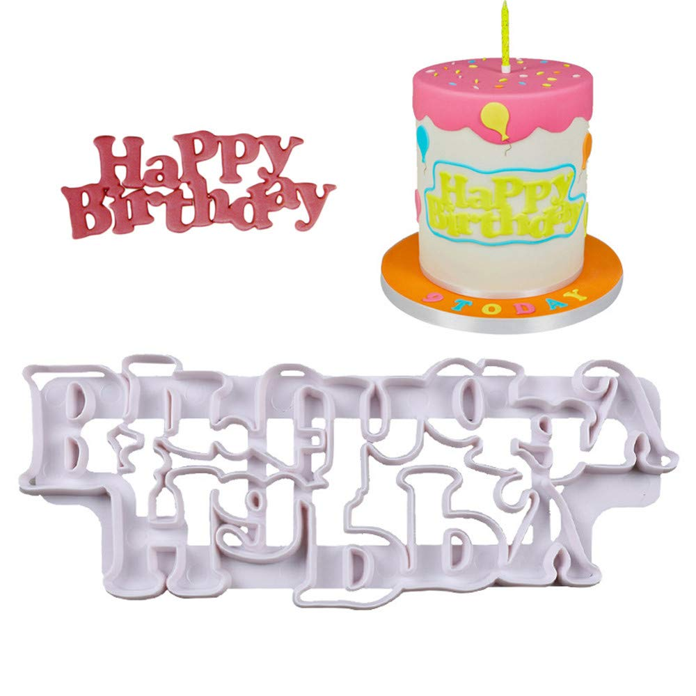 Gessppo Happy Birthday Christmas Cake Mold Cutters Fondant Decorating Plunger Baking Tools Chocolate Cookie