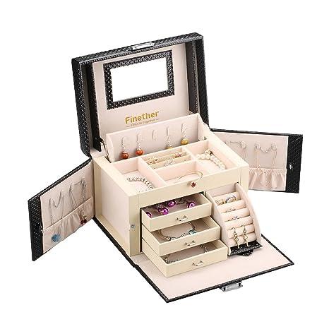 Finether-Joyero Bloqueable(Caja de joyas,Estuche Rectangular para Guardar Joyas,Pendientes,Anillos y Collares, Espejo y Cajones,Textura ...