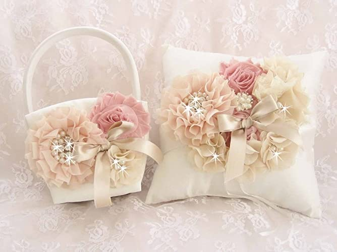 89a03bfd6f Image Unavailable. Image not available for. Color  Wedding Flower Girl  Basket Set in Blush ...